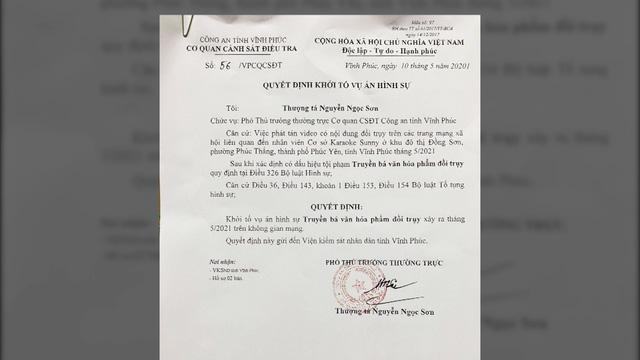 Khởi tố vụ án đăng tải clip nóng giả mạo quán bar Sunny Phúc Yên - Ảnh 1.