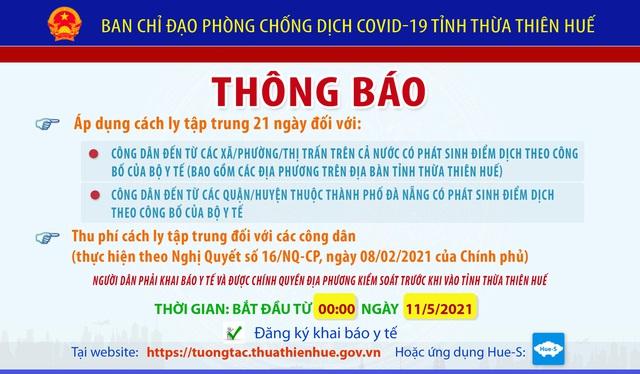 Người đến Thừa Thiên Huế từ vùng dịch phải cách ly tập trung 21 ngày - Ảnh 1.