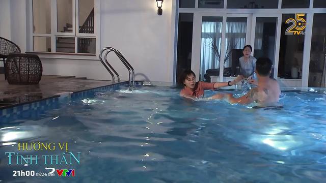 Hương vị tình thân - Tập 19: Long gạ Nam bơi, bà Dần lao xuống bể đánh tới tấp - Ảnh 3.