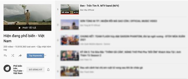 Đen Vâu đạt kỷ lục 11 MV top 1 trending Youtube - Ảnh 1.