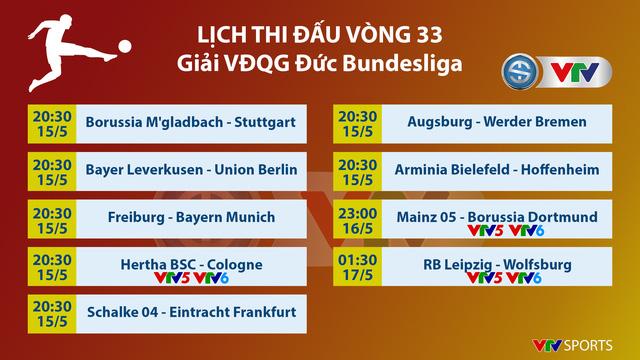 Lịch thi đấu và trực tiếp vòng 33 Bundesliga: Tâm điểm Dortmund, Leipzig, cuộc đua tốp 4 - Ảnh 1.