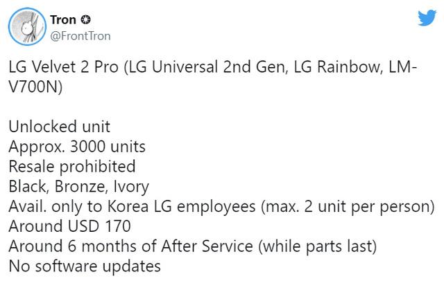 LG Velvet 2 Pro và LG Rollable chỉ được bán nội bộ? - Ảnh 1.