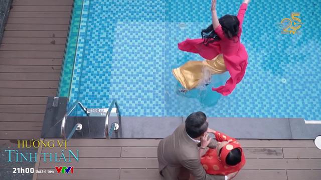 Hương vị tình thân - Tập 24: Đúng ngày mừng thọ, bà Dần đẩy con dâu ngã xuống bể bơi - Ảnh 2.