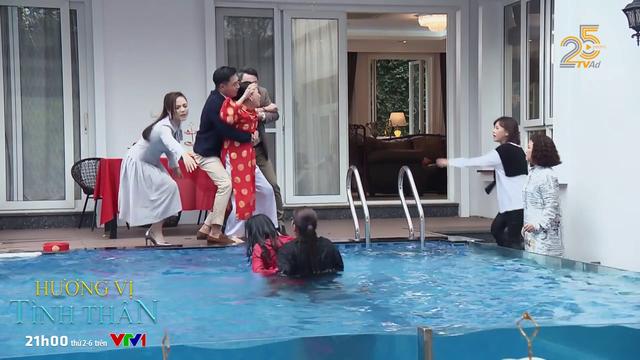 Hương vị tình thân - Tập 24: Đúng ngày mừng thọ, bà Dần đẩy con dâu ngã xuống bể bơi - Ảnh 3.