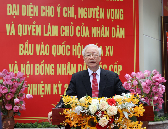 Tổng Bí thư Nguyễn Phú Trọng bỏ phiếu bầu cử đại biểu Quốc hội khoá XV và HĐND các cấp - Ảnh 3.