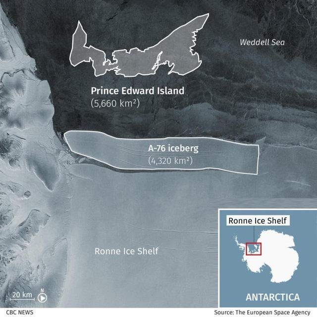 Tảng băng trôi lớn nhất thế giới vỡ ra từ thềm Nam Cực - ảnh 2