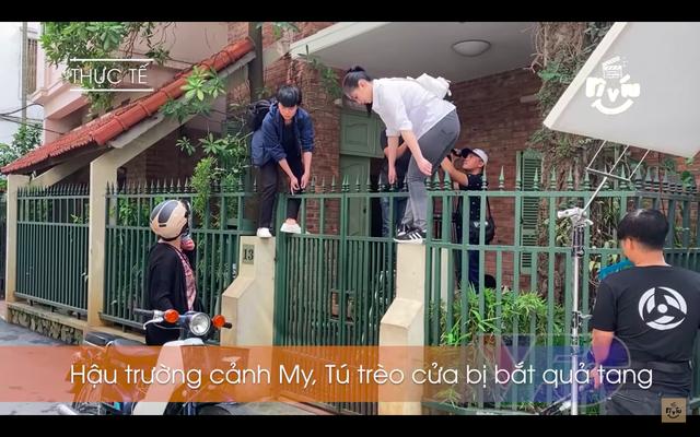 Hậu trường Hãy nói lời yêu: Quỳnh Kool rã rời tay chân khi trèo qua cổng sắt - ảnh 2