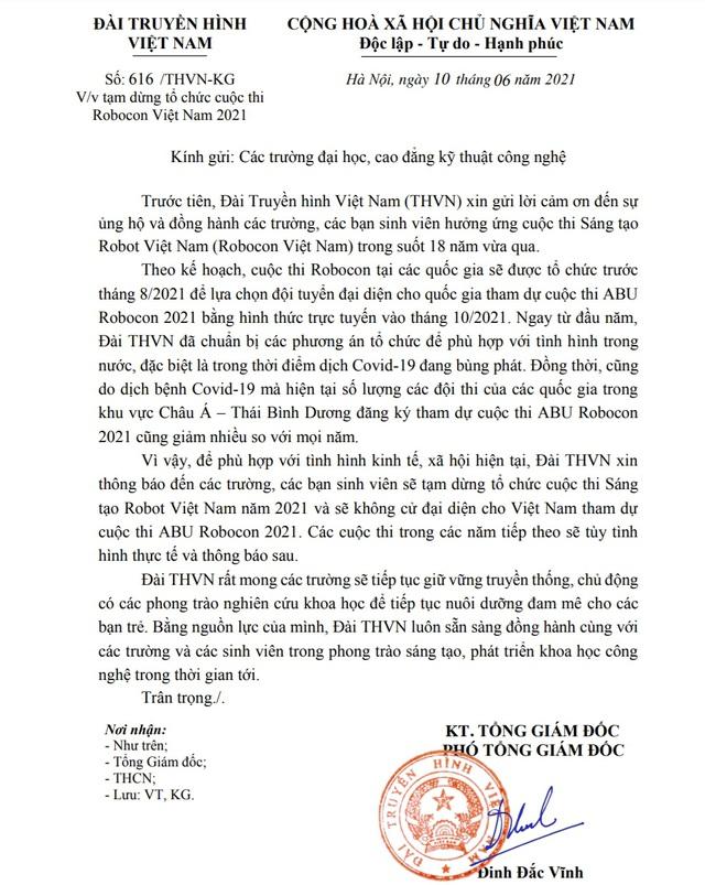Tạm dừng tổ chức cuộc thi Robocon Việt Nam 2021 - Ảnh 1.