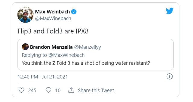 Galaxy Z Flip 3 5G và Z Fold 3 5G sẽ có khả năng chống nước chuẩn IPX8 - Ảnh 1.