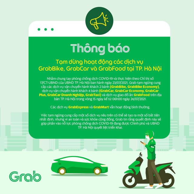 Grab, Now thông báo dừng chở khách, giao đồ ăn tại Hà Nội - Ảnh 1.