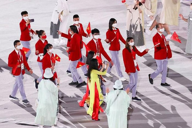 Hình ảnh Đoàn thể thao Việt Nam diễu hành ở lễ khai mạc Olympic Tokyo 2020 - Ảnh 3.