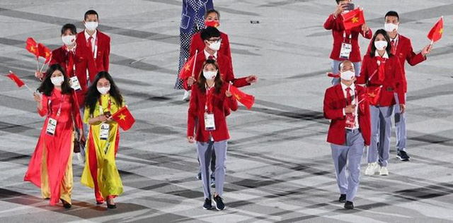 Hình ảnh Đoàn thể thao Việt Nam diễu hành ở lễ khai mạc Olympic Tokyo 2020 - Ảnh 6.