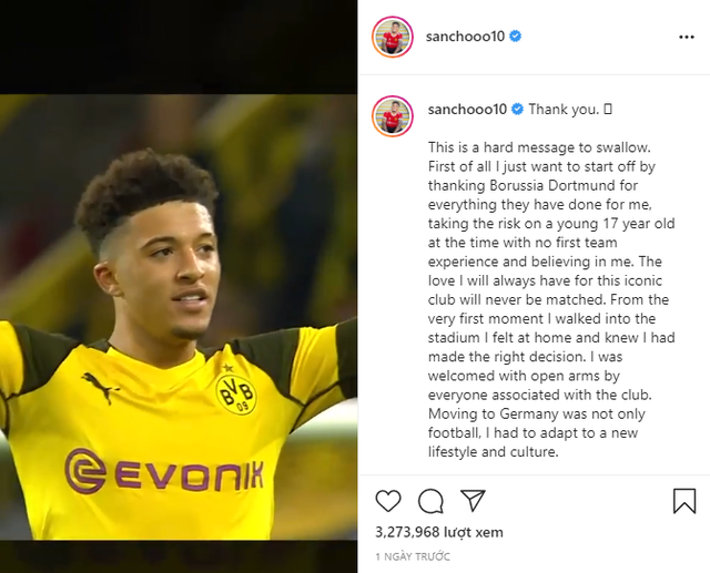 Jadon Sancho viết tâm thư đầy tình cảm chia tay Dortmund - Ảnh 1.