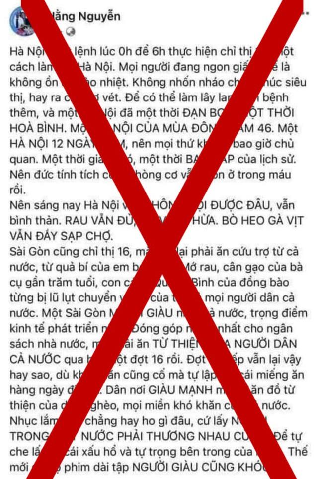 Mời chủ tài khoản Facebook Hằng Nguyễn lên làm việc sau bài đăng về COVID-19 - Ảnh 1.