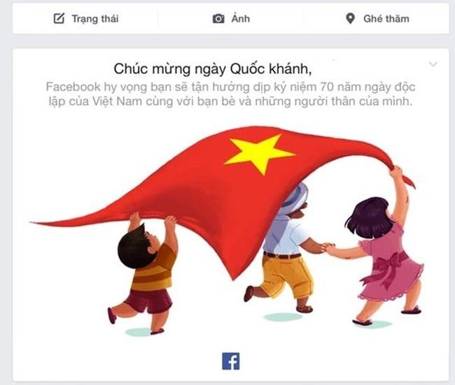 VTV.vn - Sáng 2/9, mạng xã hội lớn nhất thế giới Facebook đã gửi thông điệp  chúc mừng nhân dịp kỷ niệm 70 năm Cách mạng Tháng Tám và Quốc khánh 2/9 ...