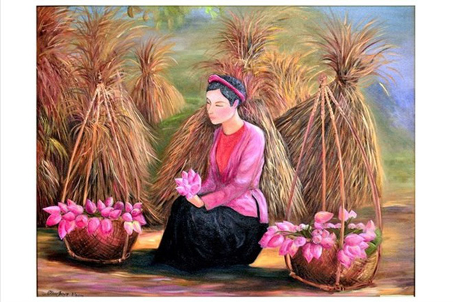 Gai Que (Rural Woman), one of 63 oil and lacquer paintings by female artists of the Tranh Viet Club at the exhibition Tu Mua Thu Ay (Photo courtesy of the show's organiser)