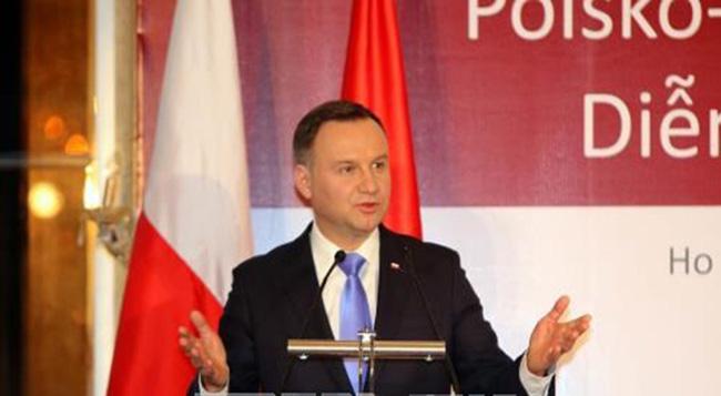 Polish President Andrzej Duda made speech at the Vietnam - Poland business forum (Photo: HanoiTimes)