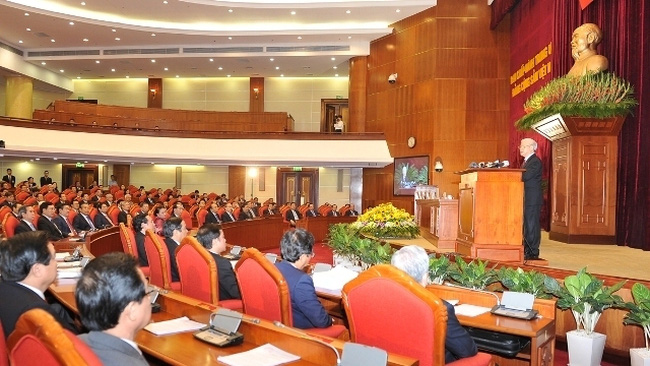General Secretary Nguyen Phu Trong speaks at the closing ceremony of the 12th Party Central Committee (PCC)'s sixth plenum.