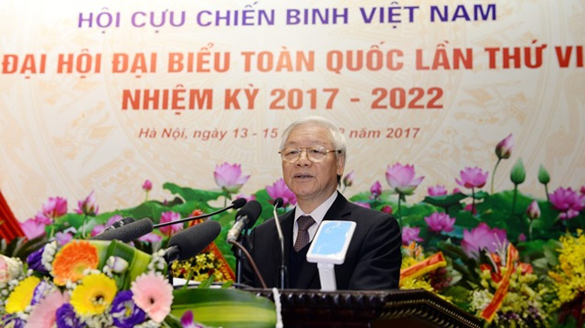 Party General Secretary Nguyen Phu Trong addresses the sixth National Congress of the Vietnam War Veterans' Association. (Credit: qdnd.vn)