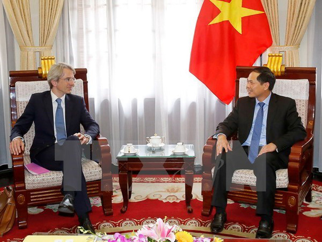 Deputy Foreign Minister Bui Thanh Son (R) and Emmanuel Lenain, Director for Asia and Oceania at the French Ministry of Foreign Affairs and International Development (Photo: VNA)