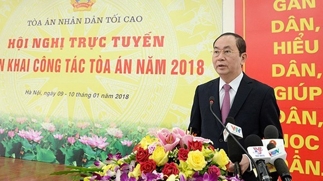 President Tran Dai Quang speaks at the conference. (Photo: VOV)