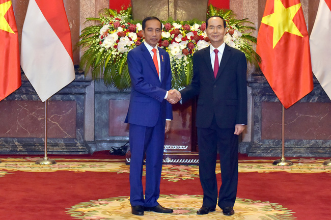 President Tran Dai Quang (R) and Indonesian President Joko Widodo (Photo: NDO/ Duy Linh)