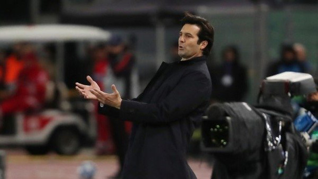 Real Madrid coach Santiago Solari reacts during their Champions League Group G clash with AS Roma at Stadio Olimpico, Rome, Italy, on November 27, 2018. (Photo: Reuters)