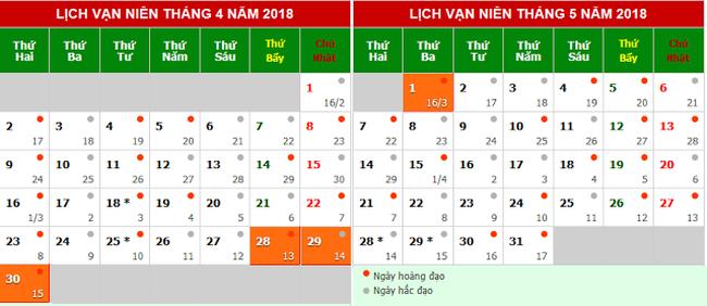 Lịch nghỉ lễ Giỗ Tổ Hùng Vương và dịp 30/4 - 1/5