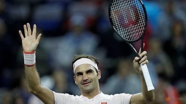 Roger Federer of Switzerland celebrates his victory against Daniil Medvedev of Russia. (Reuters)