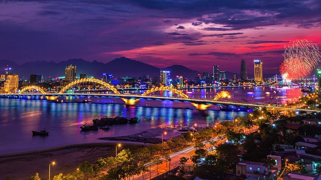 The Dragon Bridge over the Han River in Da Nang city.