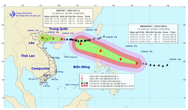 The projected paths of Barijat and Mangkhut (Image: NCHMF)