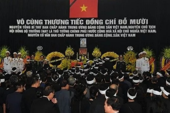 The memorial service for former Party General Secretary Do Muoi held at the National Funeral Hall, No. 5 Tran Thanh Tong street, Hanoi, on October 7.