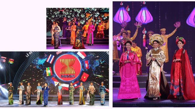 A performance featuring charming Ao Dai designs at the closing ceremony (Photo: baoquangninh.com.vn)
