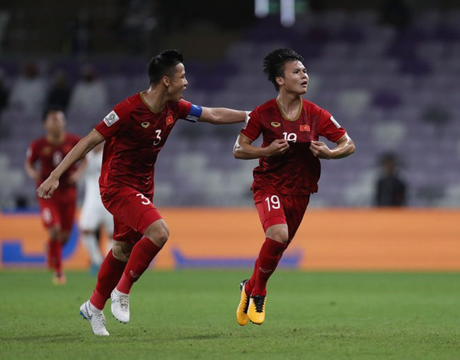 Nguyen Quang Hai celebrated the first goal for Vietnam (Source: AFC)