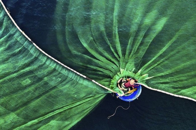 The photo 'Dance in the Sea' by Vietnamese photographer Le Van Vinh wins the 'people in nature' category at the contest.