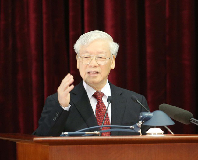 Party General Secretary and President Nguyen Phu Trong delivers his opening remarks at the 11th plenum of the 12th Party Central Committee on October 7.  Photo:  VNA