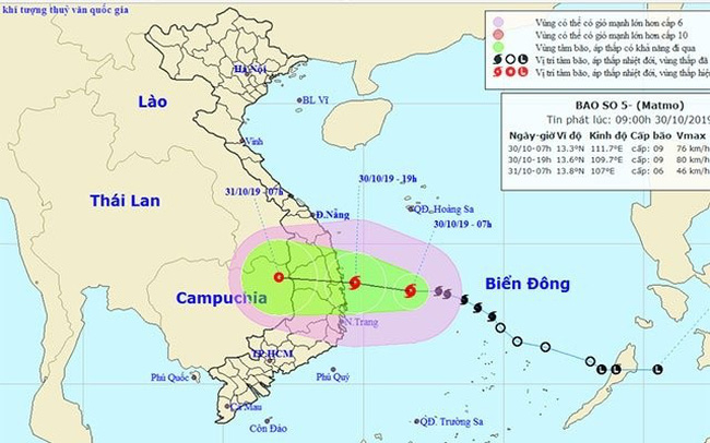 The estimated path of Typhoon Matmo. (Photo: nchmf.gov.vn)