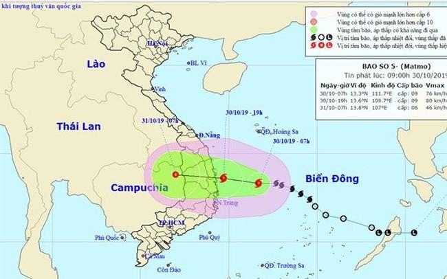 The estimated path of Typhoon Matmo. (Photo: nchmf.gov.vn)