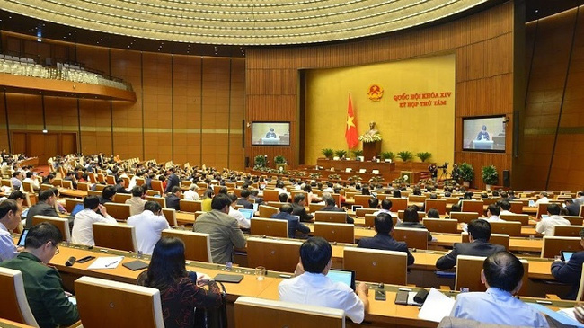 A general view of the November 20 sitting of the 14th National Assembly's eighth session. (Photo: NDO/Duy Linh)