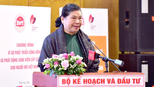 National Assembly Vice Chairwoman Tong Thi Phong speaking at the launch event (Photo: DBND)