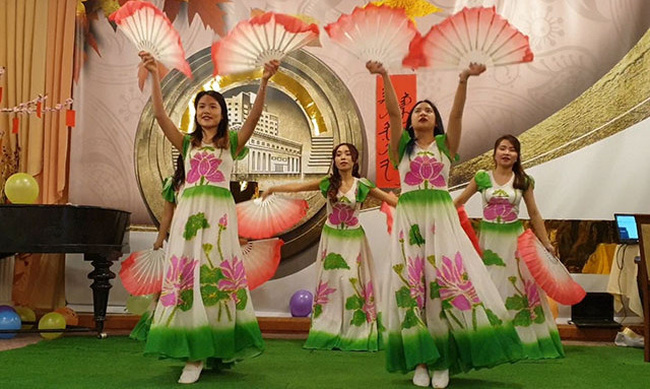 A traditional dance performed by Vietnamese students at the event