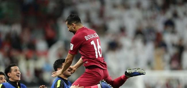 Boualem Khoukhi celebrates scoring Qatar's first goal. (Photo: AFC)