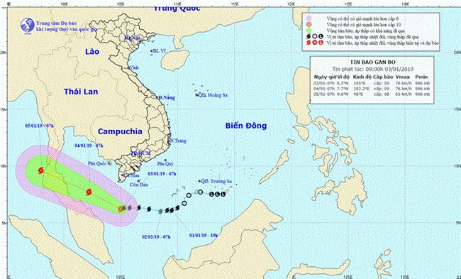 The projected location and direction of Pabuk, the first storm to hit Vietnam this year. (Photo: nchmf.gov.vn)