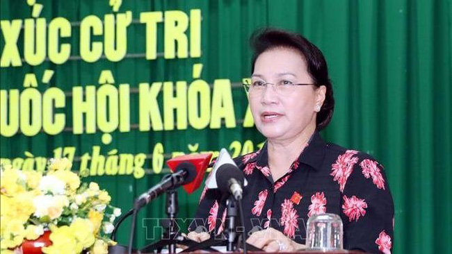NA Chairwoman Nguyen Thi Kim Ngan speaking at the meeting (Photo: VNA)