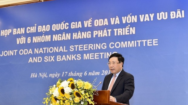 Chairman of The ODA National Steering Committee Deputy Prime Minister Pham Binh Minh speaking at the meeting (Photo: baoquocte.vn)
