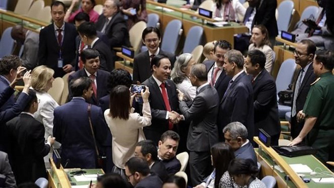 Vietnam won a record high number of 192 votes out of the 193 UN member countries and territories. (Photo: VNA)