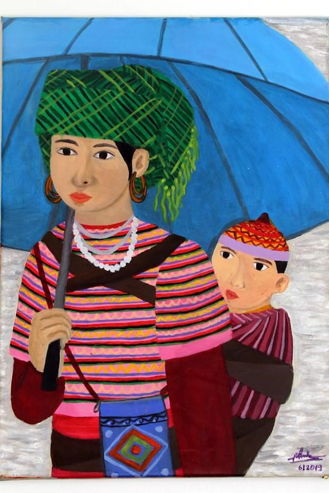 """Mother and child"" painting by hearing-impaired artist Duong Phuong Linh (Source: VNA)"