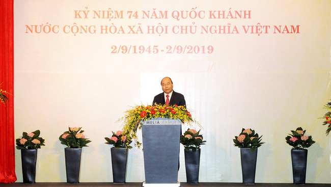 PM Nguyen Xuan Phuc speaking at the reception. (Photo: Tran Hai/NDO)