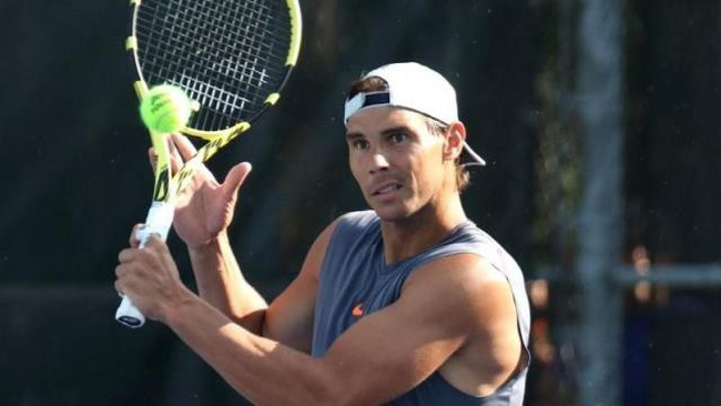 Aug 4, 2019; Montreal, Quebec, Canada; Rafael Nadal of Spain hits during a practice session at the Rogers Cup tennis tournament at Stade IGA. Mandatory Credit: Jean-Yves Ahern-USA TODAY Sports