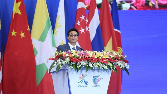 Deputy Prime Minister Vu Duc Dam addresses the opening ceremony of the 16th CAEXPO and CABIS in Nanning on September 21 (Photo: VNA)